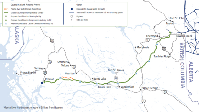 2016 Coastal GasLink Route Map