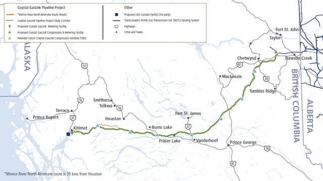 2016 Coastal GasLink Route Map